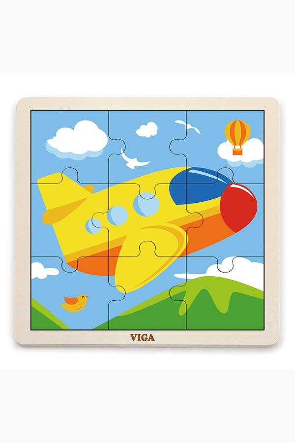 Παζλ ξύλινο 9 τεμαχίων Αεροπλάνο VIGA 51447