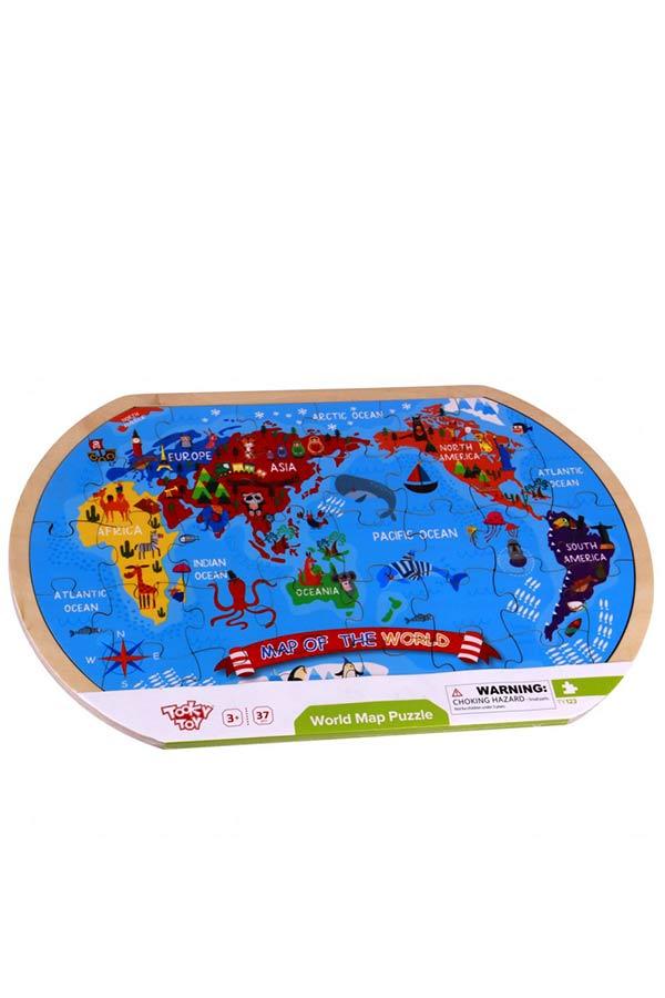 Παζλ ξύλινο 37 τεμαχίων Παγκόσμιος χάρτης TOOKY TOY TY123