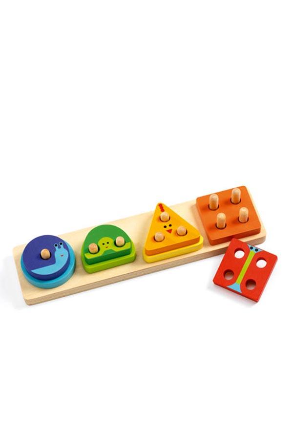 Παζλ σφηνώματα 8 τεμ Εκμάθησης γεωμετρικά σχήματα και χρώματα Djeco DJ06203