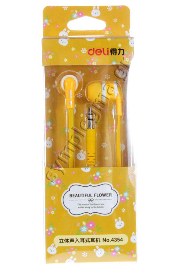 Ακουστικά πλακέ καλώδιο Beautiful flower κίτρινο Deli 4354