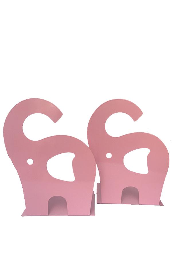 Βιβλιοστάτες μεταλλικοί 2 τεμ. Ελέφαντας ροζ 0.42.258