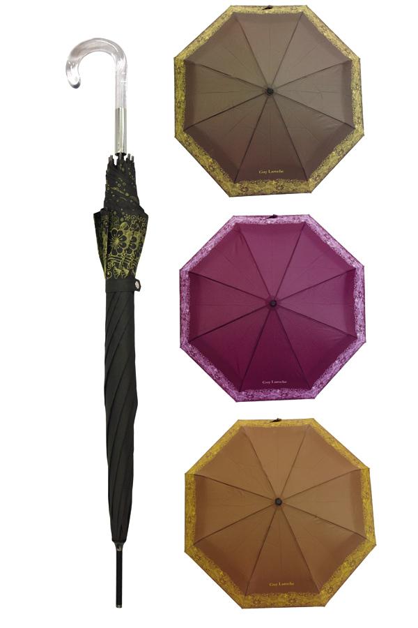 Ομπρέλα μπαστούνι Guy Laroche εμπριμέ καφέ 8346