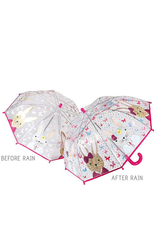 Ομπρέλα παιδική μπαστούνι διάφανη FLOSS&ROCK Λαγουδάκι 33P2101