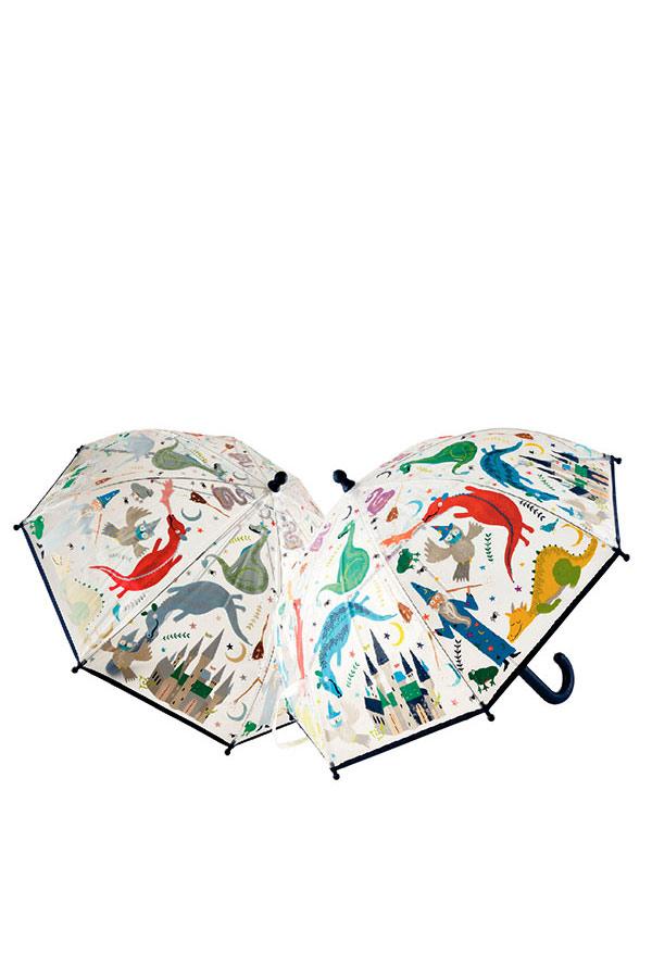 Ομπρέλα παιδική μπαστούνι διάφανη FLOSS&ROCK Δράκοι 41P3649