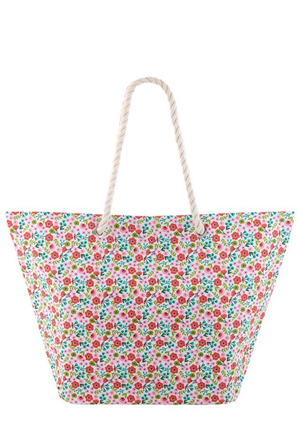 Τσάντα θαλάσσης Liberty Ροζ λουλούδια Derriere La Porte D060-P090110