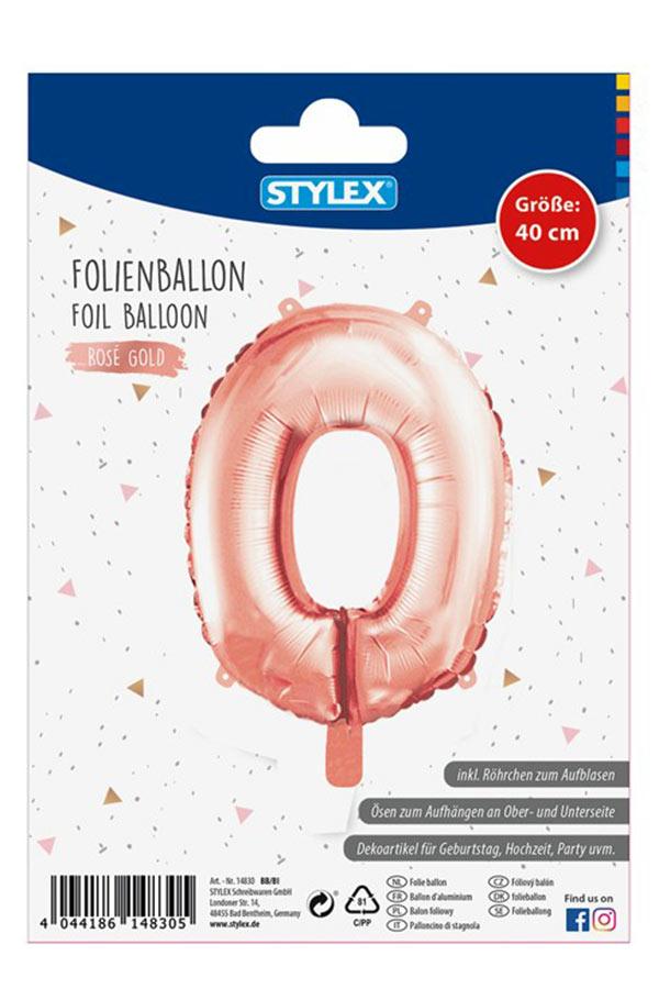 Μπαλόνι νούμερο 0 ροζ χρυσό STYLEX 14830