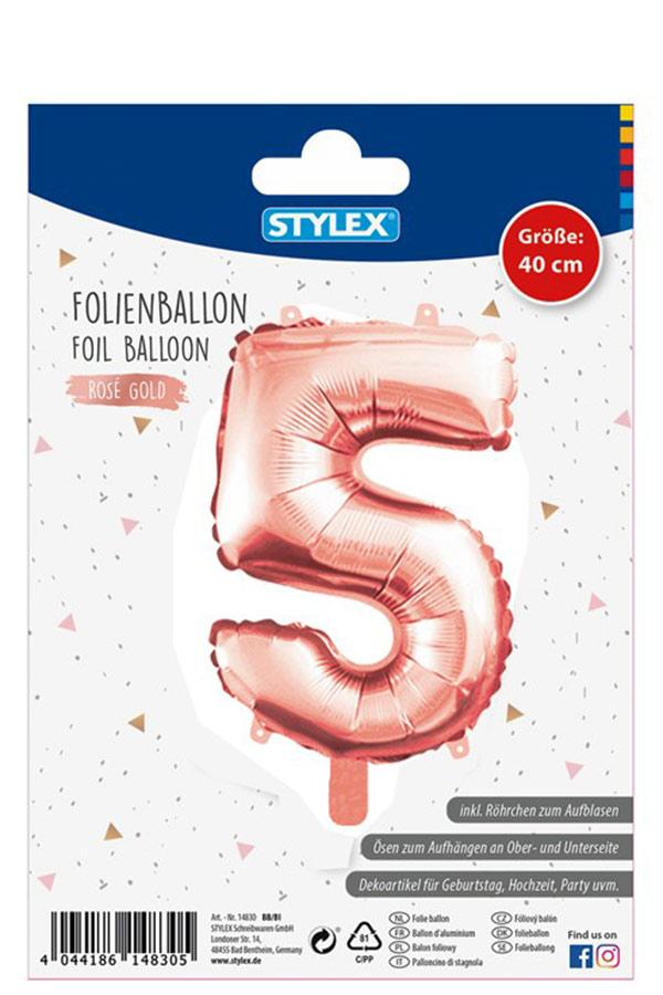 Μπαλόνι νούμερο 5 ροζ χρυσό STYLEX 14835