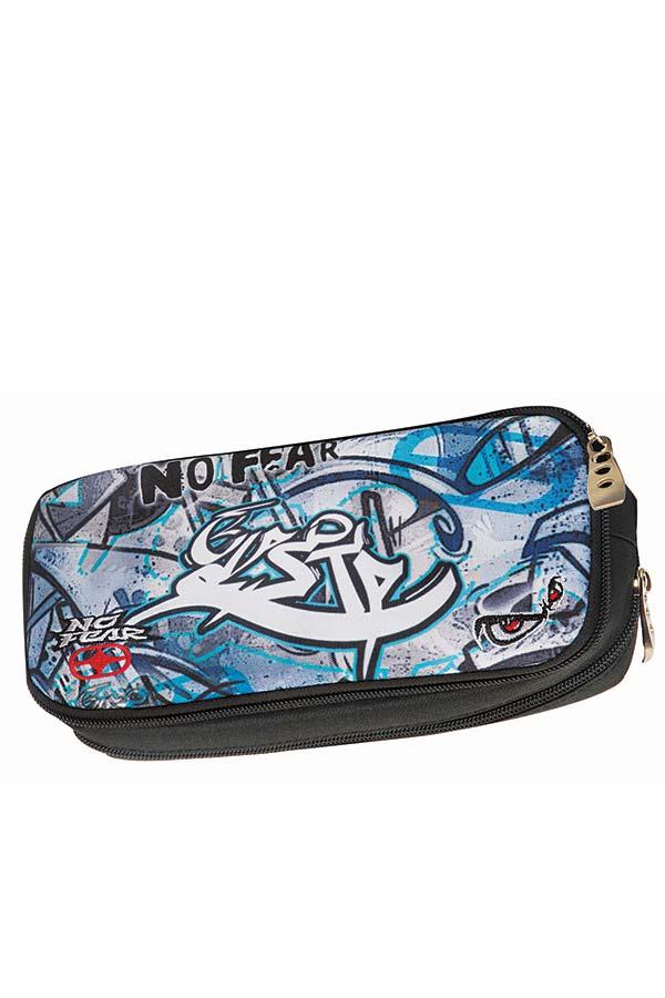 Κασετίνα σχολική οβάλ NO FEAR μπλε graffiti 34727141