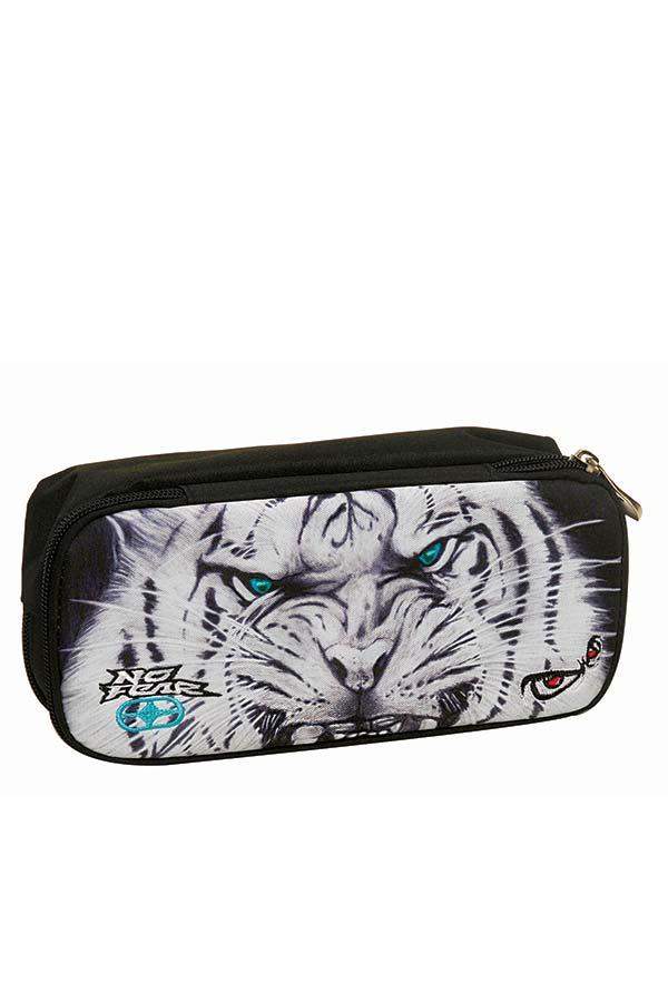 Κασετίνα σχολική οβάλ NO FEAR λευκός τίγρης 34731141
