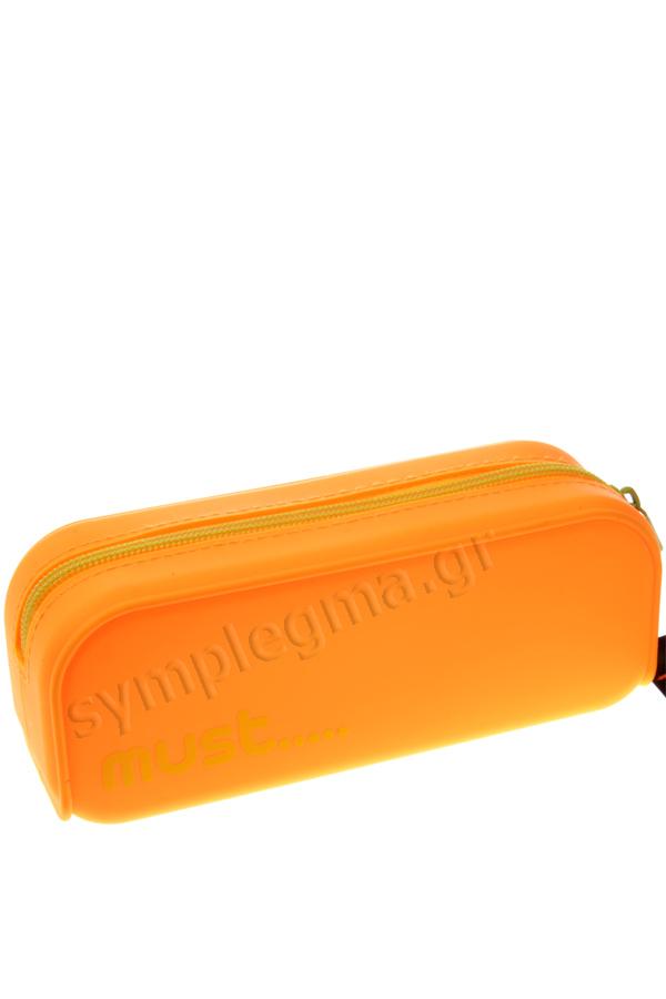 Κασετίνα σιλικόνης οβάλ must πορτοκαλί - κίτρινο 579018