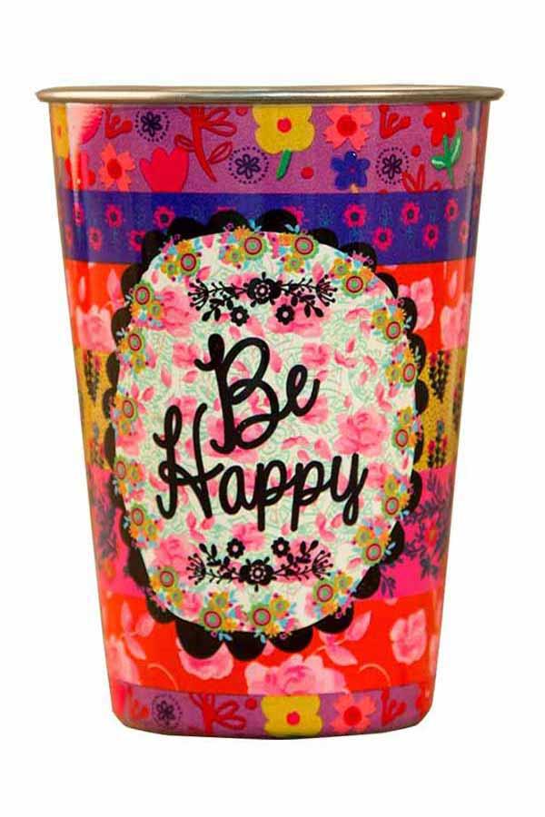 Natural Life Ποτήρι ανοξείδωτο Be happy CUP034