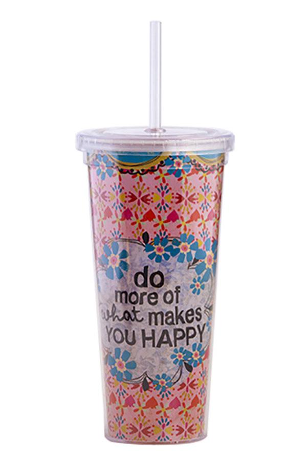 Ποτήρι πλαστικό με καλαμάκι Natural Life do more of what makes you happy TRVC002