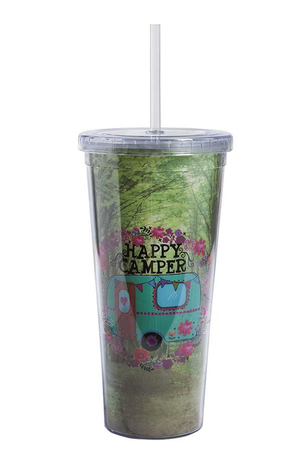 Ποτήρι πλαστικό με καλαμάκι Natural Life Happy camper TRVC012