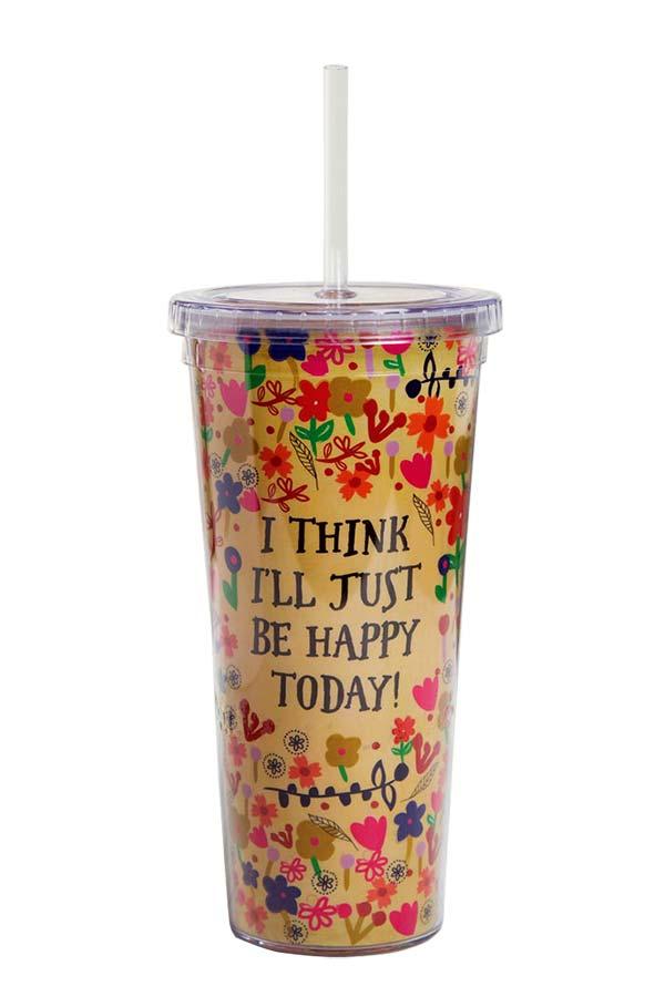 Ποτήρι πλαστικό με καλαμάκι Natural Life i think i΄ ll just be happy today TRVC014