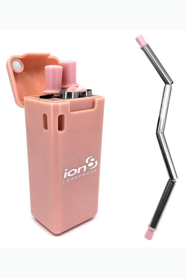 Καλαμάκι πτυσσόμενο ανοξείδωτο σε κουτί μπρελόκ ion8 ροζ