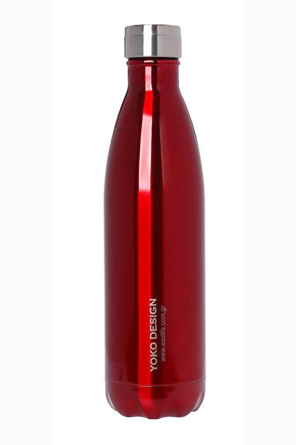Θερμός Ανοξείδωτος ecolife Yoko design 750ml κόκκινο