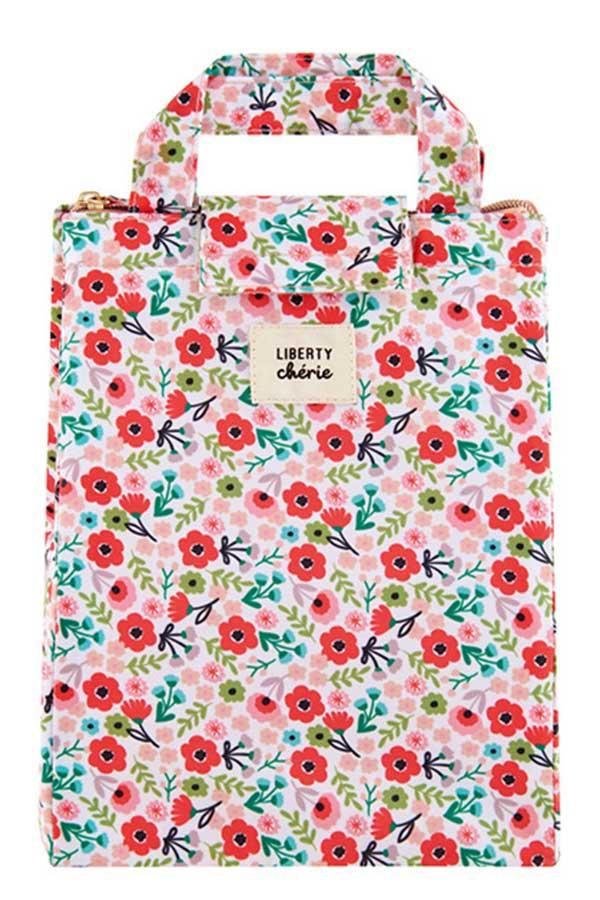 Ισοθερμικό τσαντάκι φαγητού Derriere La Porte Liberty ροζ λουλούδια D060-C230015