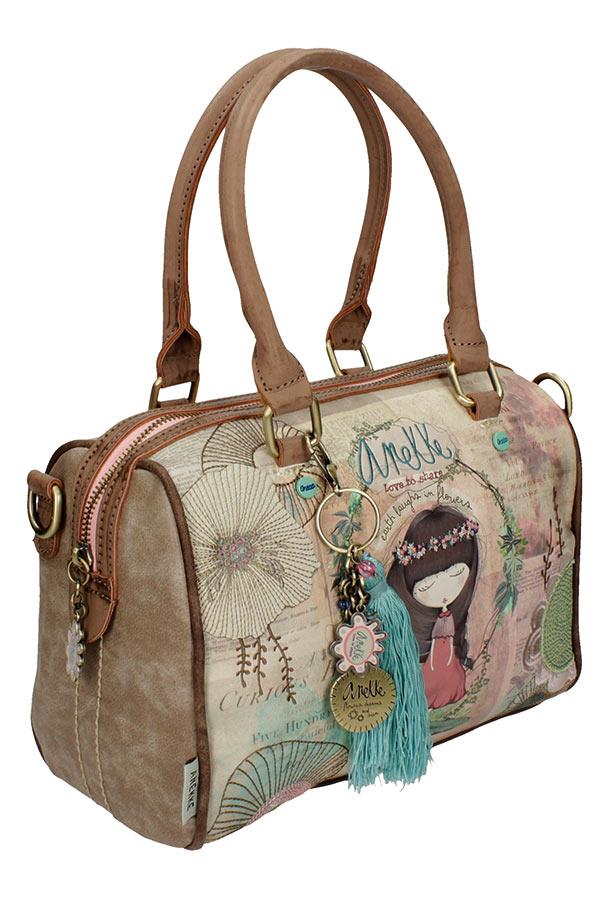 Τσάντα χειρός Anekke Nature βαρελάκι μπεζ 24770.3