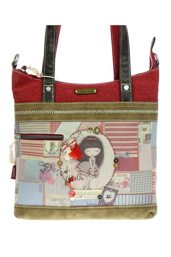 Τσάντα ώμου κόκκινη Anekke - Patchwork 22764
