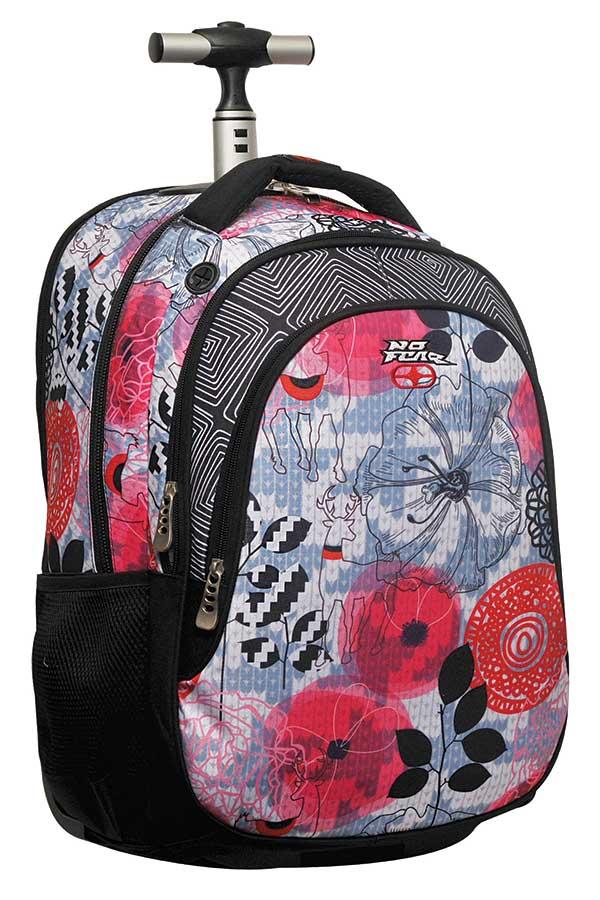 Σχολική τσάντα τρόλεϊ NO FEAR κόκκινα λουλούδια 34710074