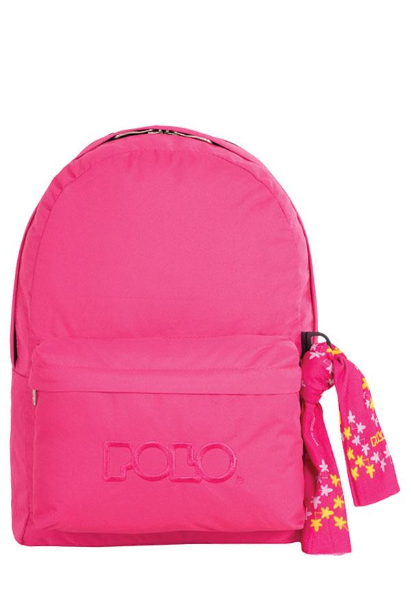 Σακίδιο POLO BACKPACK DOUBLE WITH SCARF ροζ σκούρο 90123529