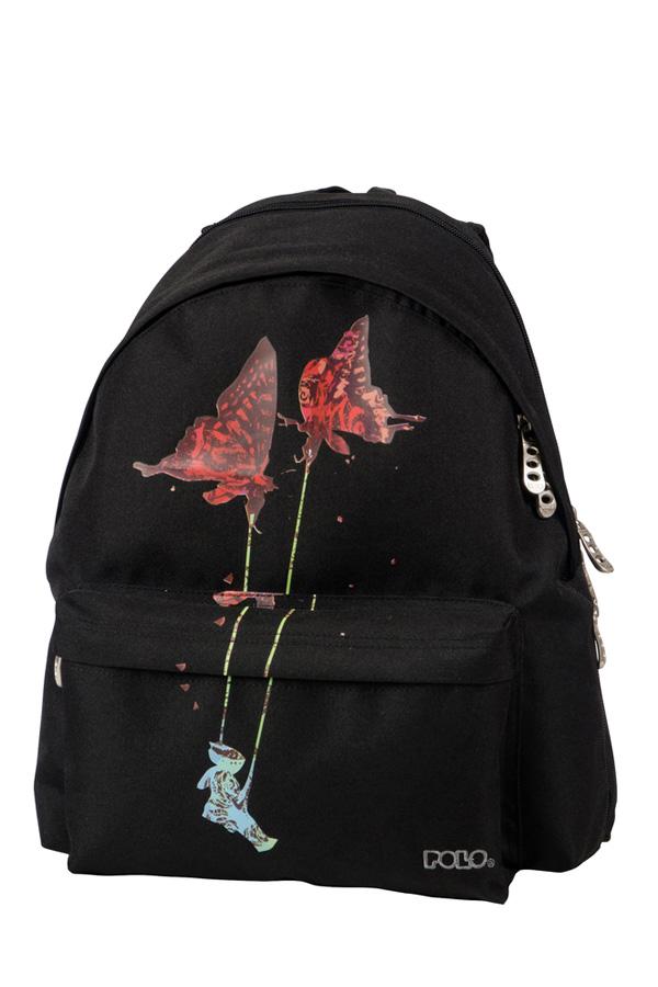 Σακίδιο POLO BACKPACK DOUBLE SILENCE μαύρο κόκκινες πεταλούδες 90120365