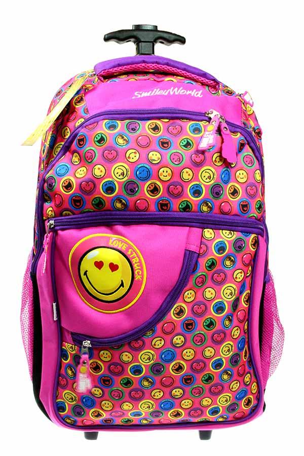 97ec89889b Σχολική τσάντα τρόλεϊ φούξια Smiley World 504518