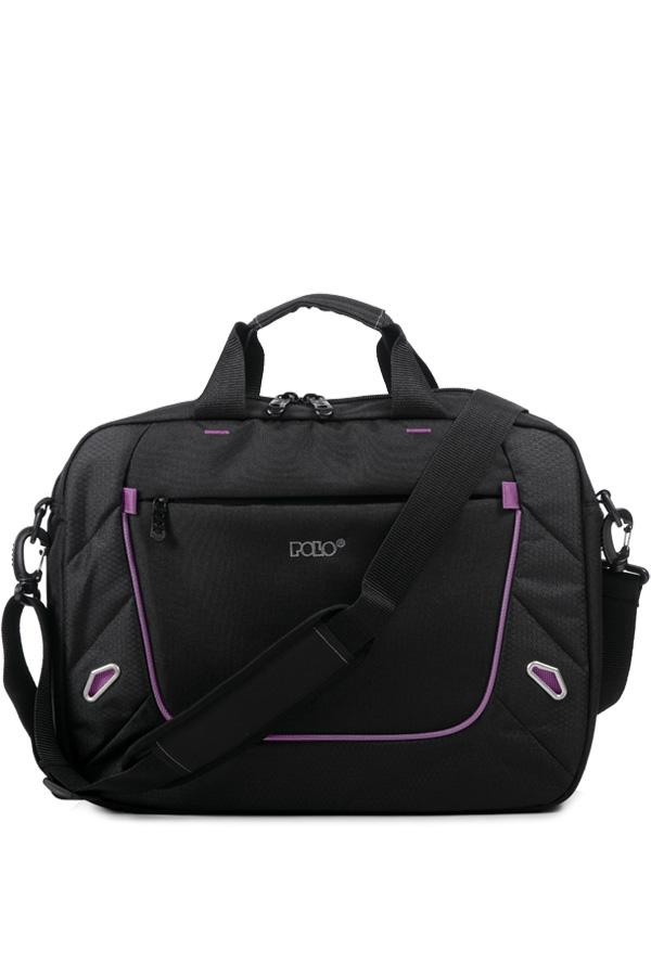 Τσάντα laptop POLO MOVIE μαύρο μωβ 90711213