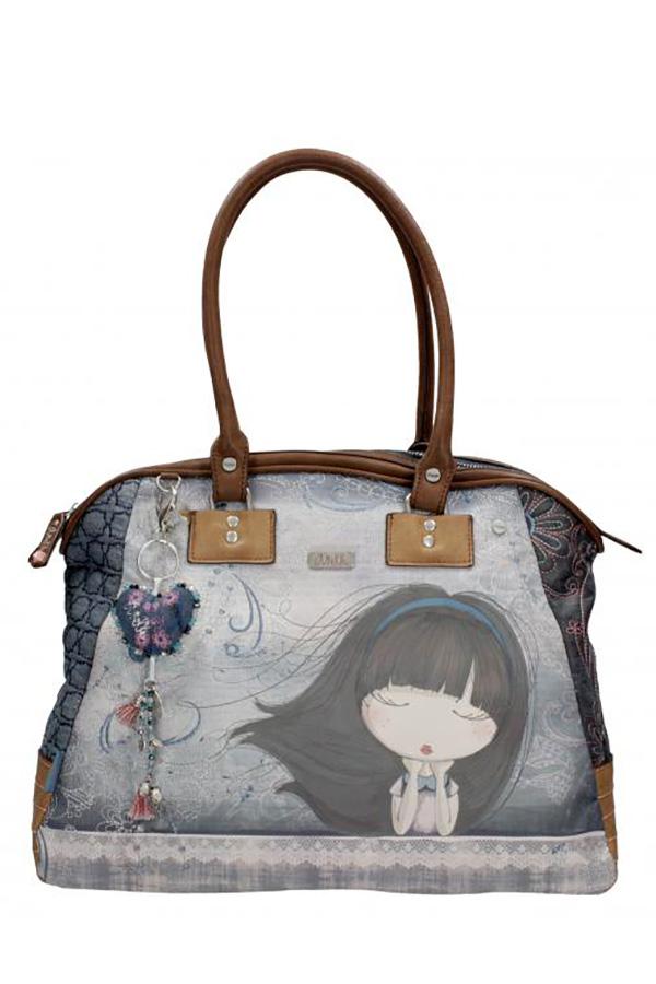 Τσάντα ώμου μεγάλη μπλε Anekke Moon 23740.2