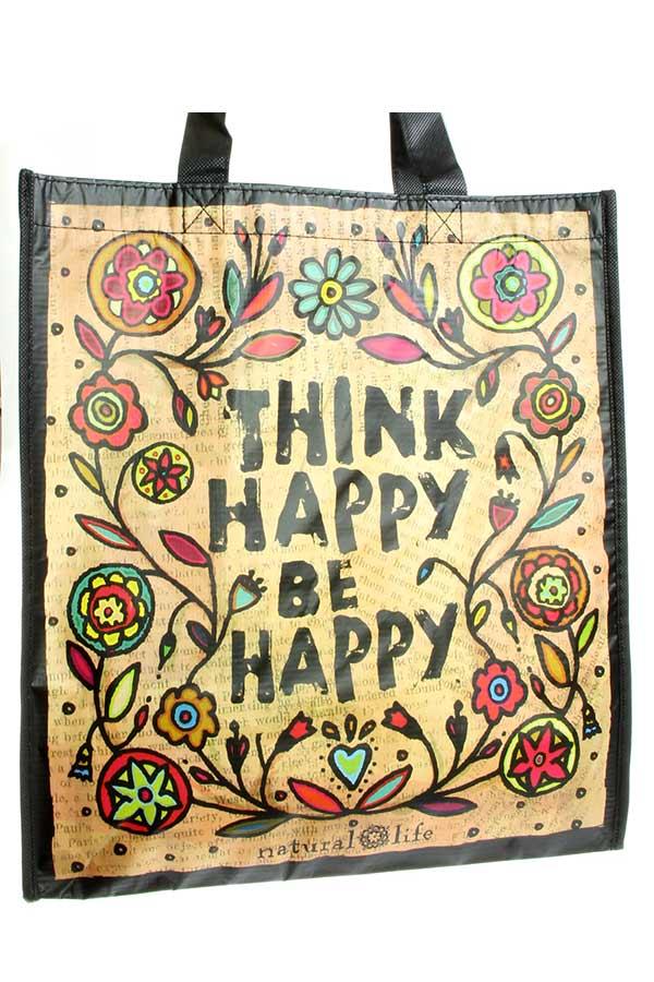 Τσάντα shopping bag Natural Life - Think happy Be happy GBAG001
