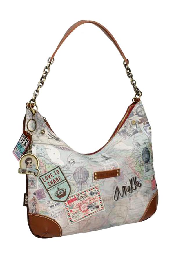 Τσάντα ώμου με αλυσίδα μπεζ Anekke Traveller 23714.4