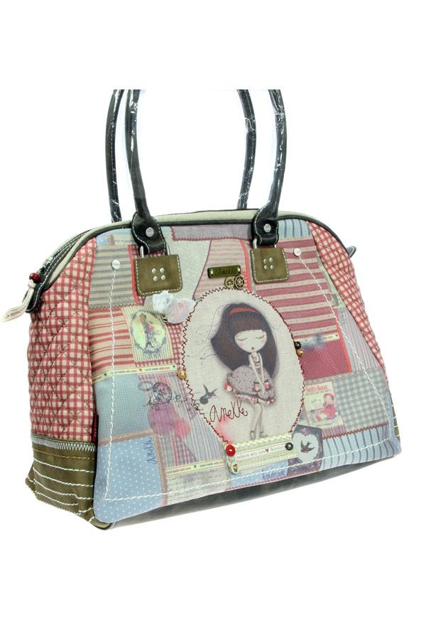 Τσάντα ώμου κόκκινη Anekke - Patchwork 22761