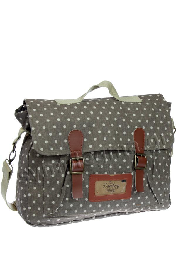 b271e27c80 Τσάντα ταχυδρόμου ύφασμα πουά καφέ Dusty polka CGB592
