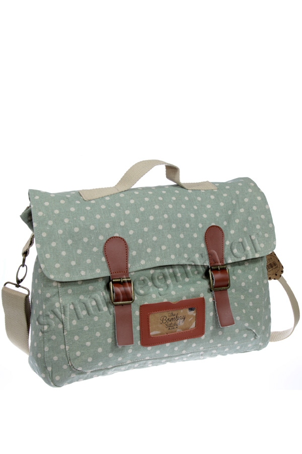 Τσάντα ταχυδρόμου ύφασμα πουά πράσινο Dusty polka CGB592