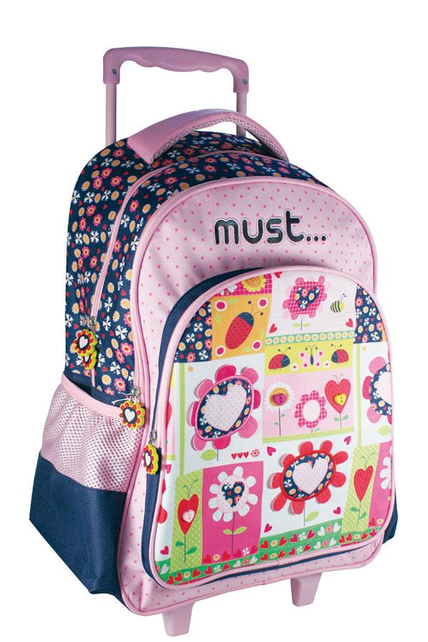 5c7f5c0467b Σχολική τσάντα τρόλεϊ must 4Weels λουλούδια 0579210