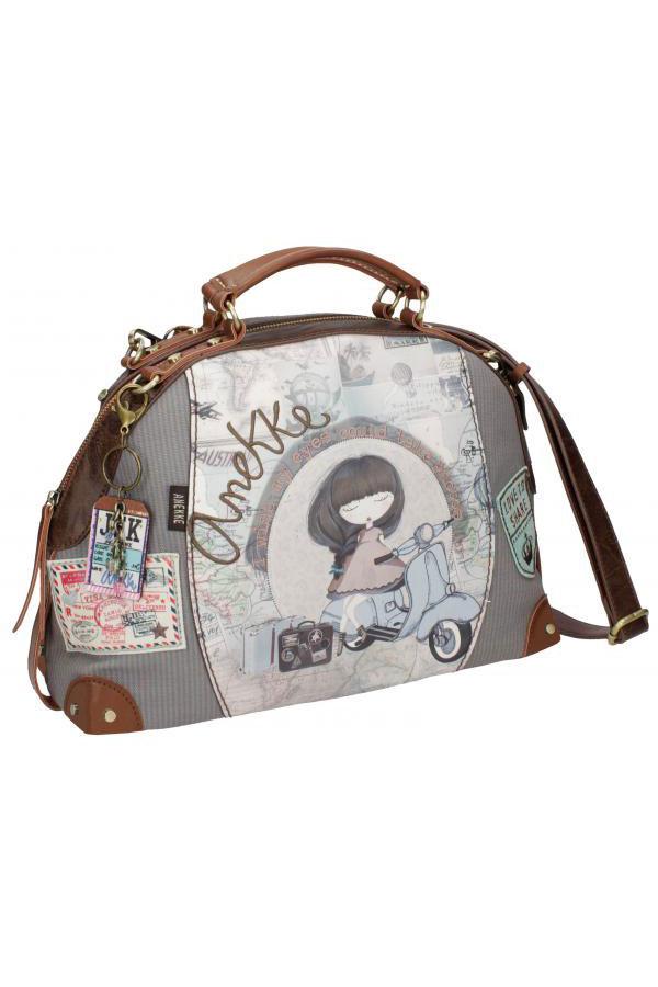 Τσάντα χειρός οβάλ μπεζ Anekke Traveller 23713.2