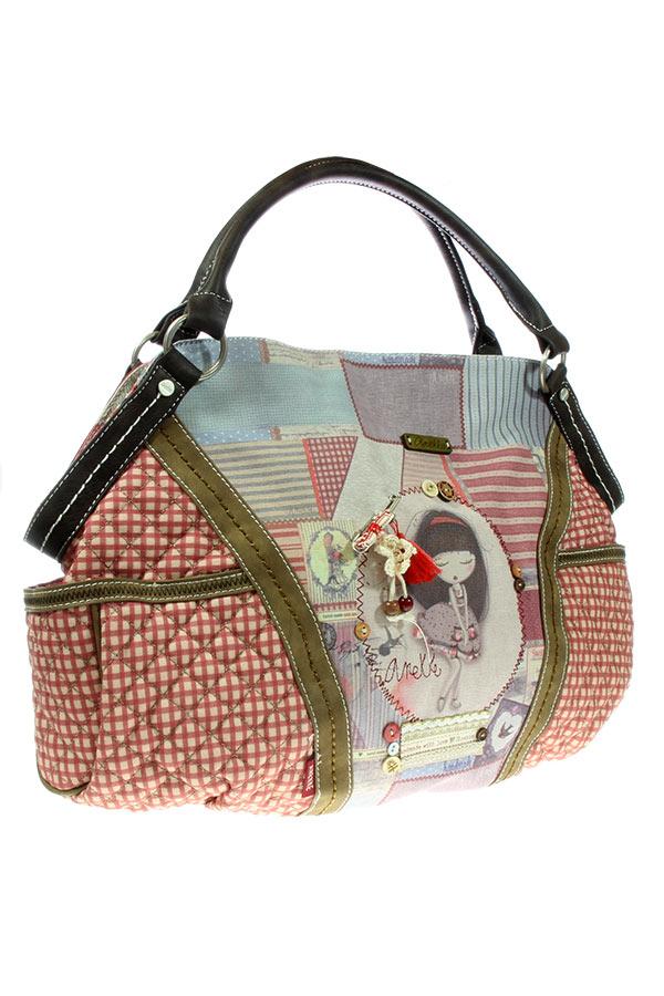 Τσάντα χειρός μεγάλη κόκκινη Anekke - Patchwork 22762