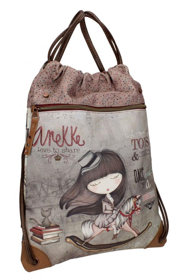 Anekke - Stories 25816-2 σακίδιο πλάτης πουγκί καφέ - γκρι