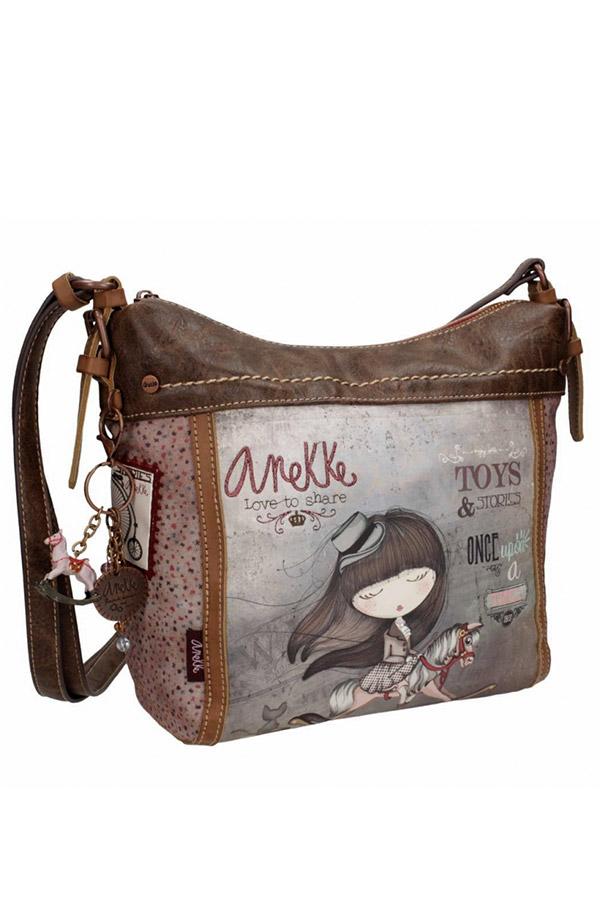 Anekke - Stories 25812-9 τσάντα ώμου μεσαία καφέ - γκρι