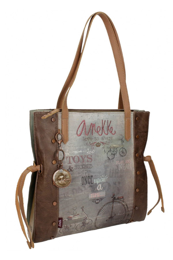Anekke - Stories 25811-3 τσάντα χειρός ώμου μεγάλη καφέ - γκρι