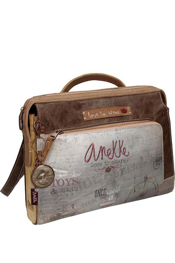 Anekke - Stories 25812-7 τσάντα ώμου μεσαία καφέ - γκρι