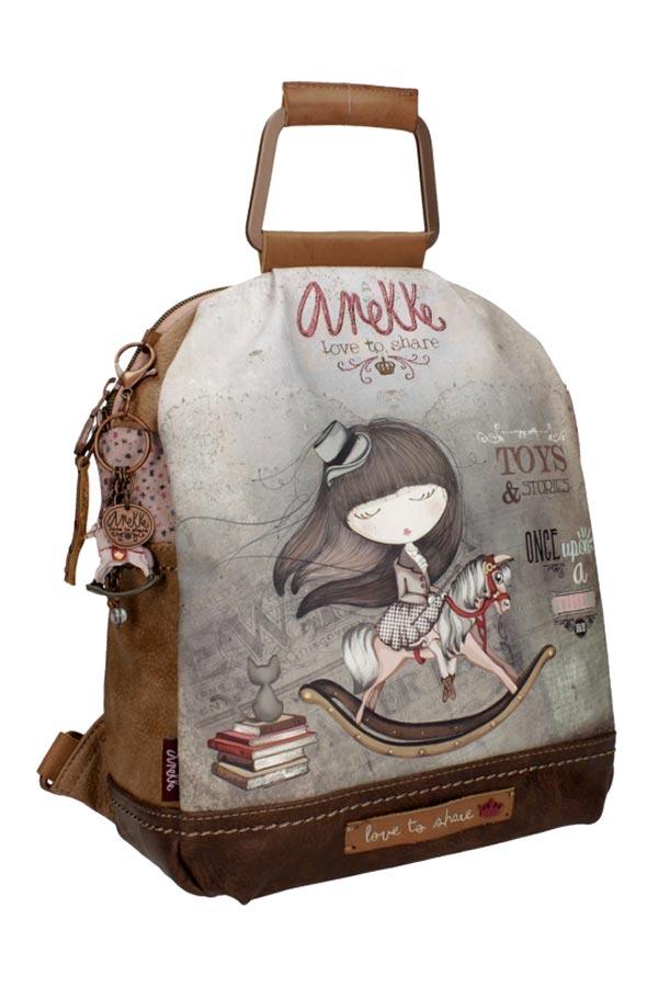 Anekke - Stories 25815-4 σακίδιο πλάτης μεσαίο καφέ - γκρι