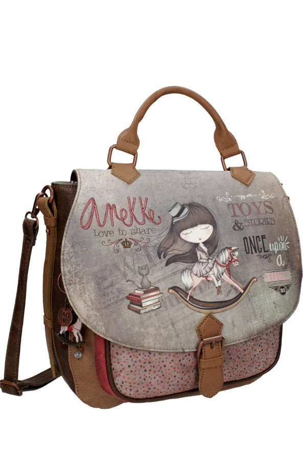 Anekke - Stories 25815-1 σακίδιο πλάτης με καπάκι μεσαίο καφέ - γκρι