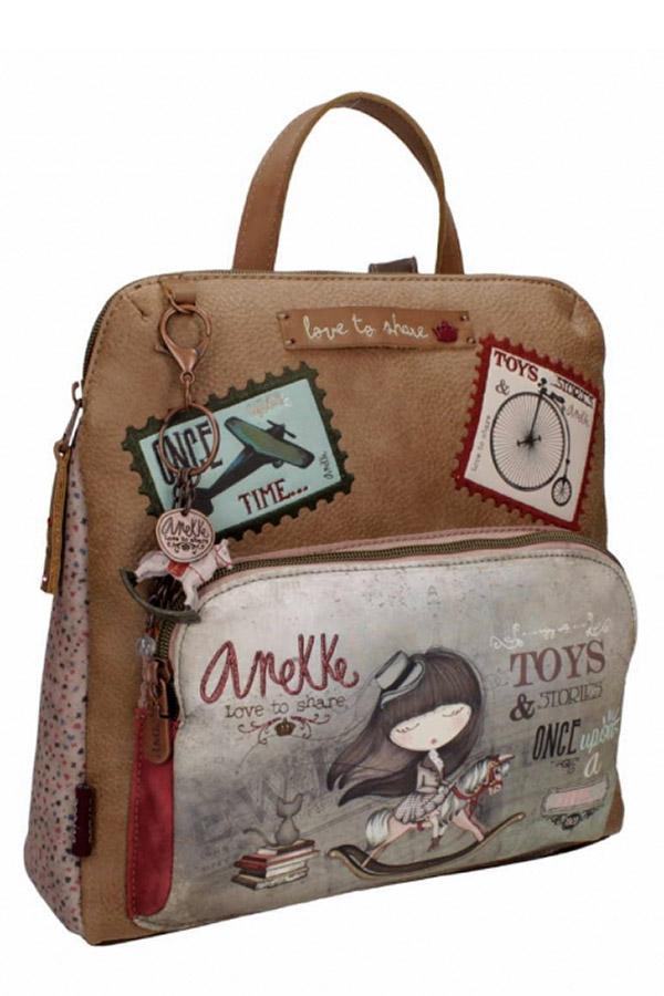 Anekke - Stories 25815-2 σακίδιο πλάτης μικρό καφέ - γκρι