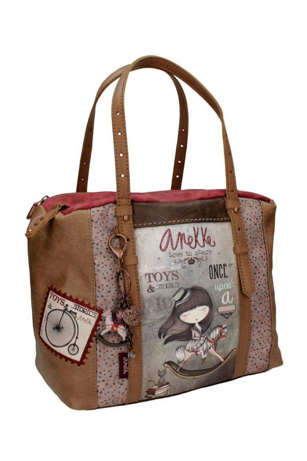 Anekke - Stories 25811-1 τσάντα χειρός μεγάλη καφέ - γκρι