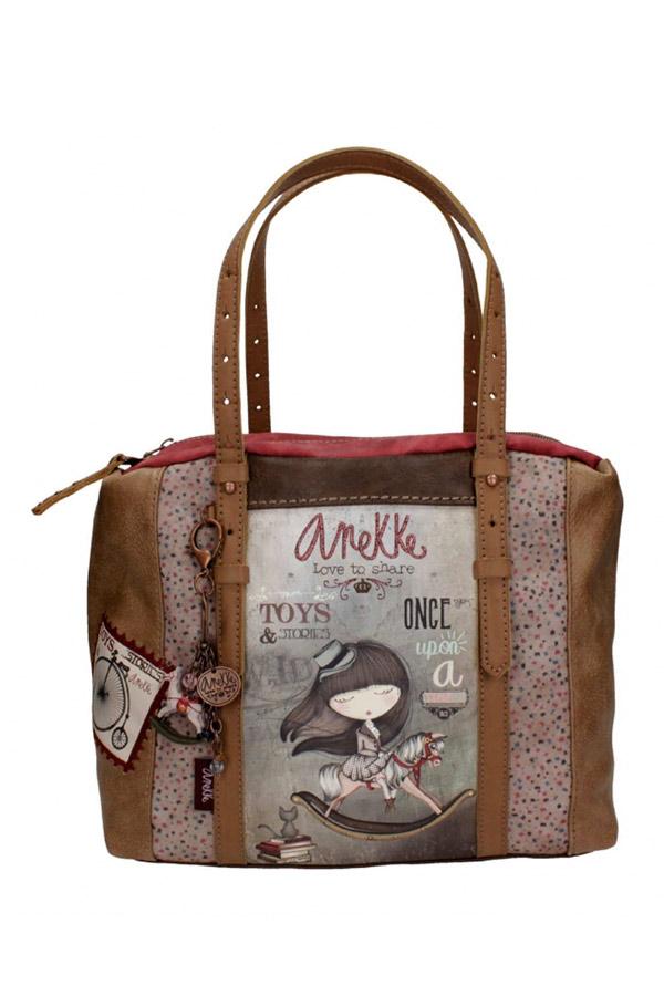 Anekke - Stories 25811-4 τσάντα χειρός ώμου μεσαία καφέ - γκρι