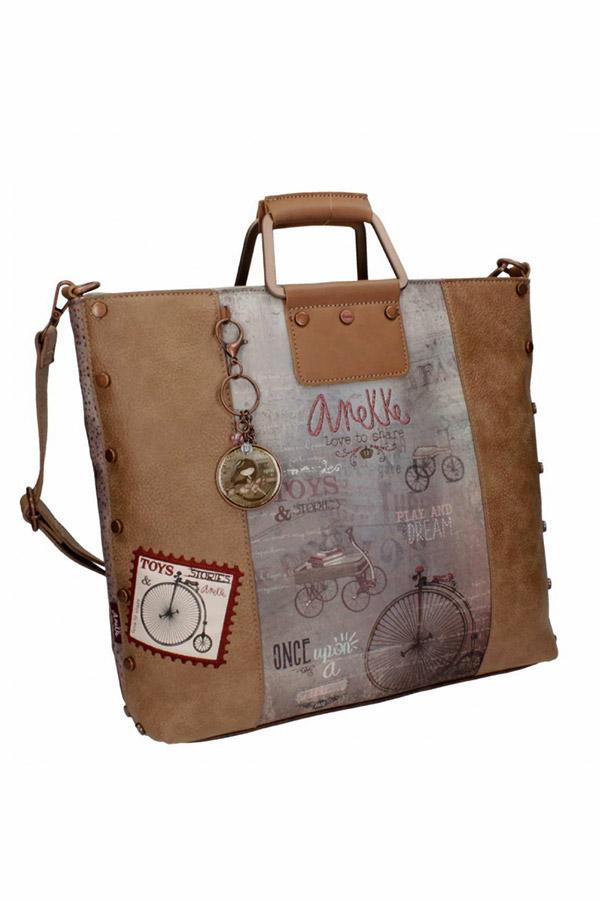 Anekke - Stories 25811-2 τσάντα χειρός ώμου μεγάλη καφέ - γκρι