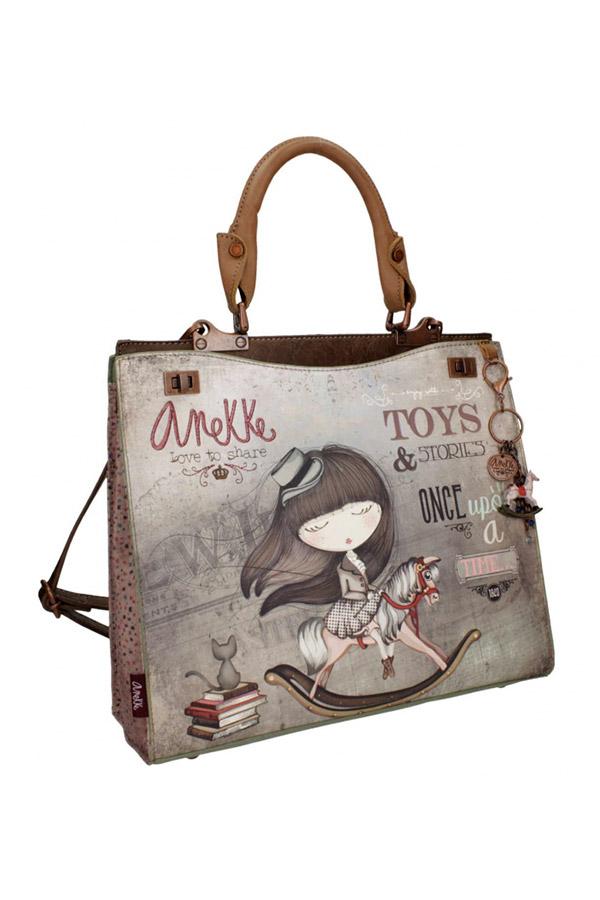 Anekke - Stories 25814-2 τσάντα χειρός ώμου μεγάλη καφέ - γκρι