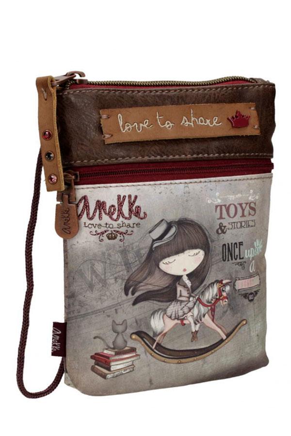 Anekke - Stories 25819-4 τσαντάκι ώμου μικρό καφέ - γκρι