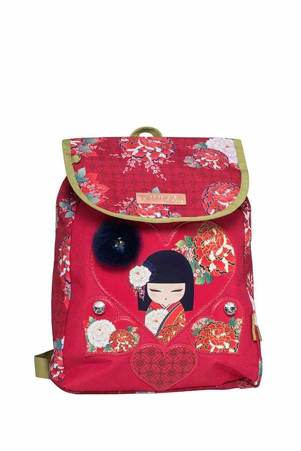Kimmidoll Σακίδιο πλάτης mini με καπάκι κόκκινο Graffiti 203302